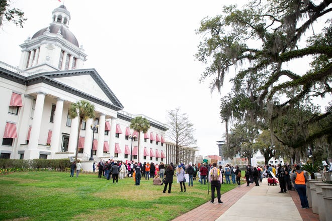 """A group of around 150 protesters from around the state gathered at the Florida Historic Capitol to stand in opposition to HB 1/SB 484, """"anti-riot"""" legislation proposed by Gov. Ron DeSantis Tuesday, March 2, 2021."""