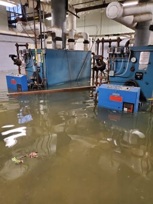 Mount Vernon City Hall boiler room under water March 1  following a pump failure