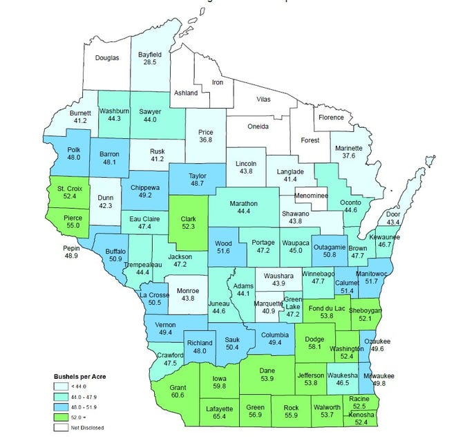 Farmers in Rock County led the State in soybean production with 5.03 million bushels in 2020.