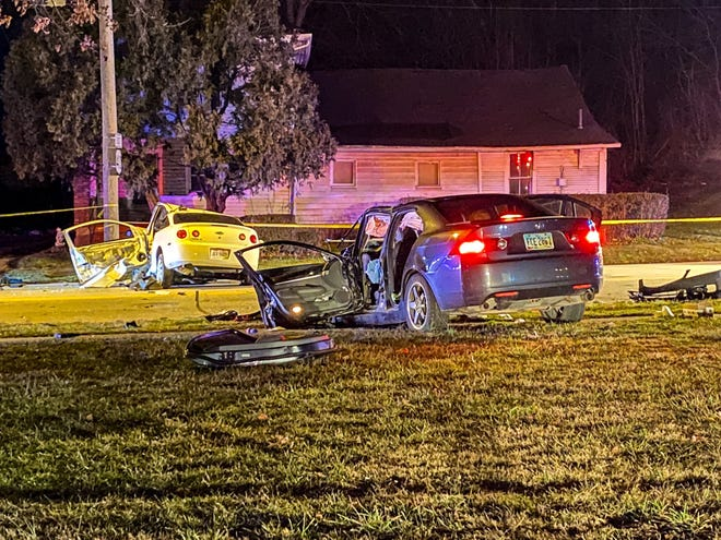 A Zanesville man died during a crash in front of Gant Stadium Monday night, and a family of four was injured.