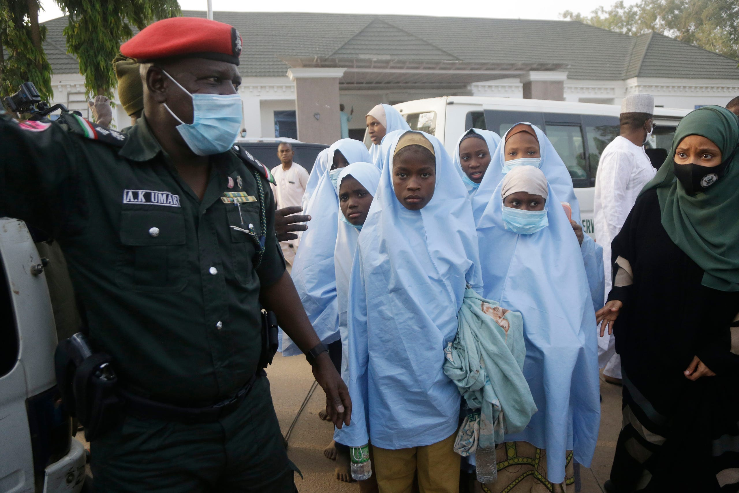 Some of the students who were abducted from the Government Girls Secondary School in Jangebe, Nigeria, on March 2, 2021, in Gusau, northern Nigeria.
