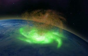 An illustration of the space hurricane which was spotted over the North Pole in 2014.