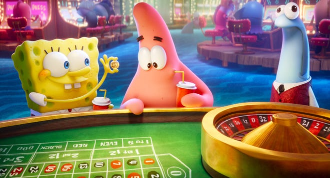 """SpongeBob (voiced by Tom Kenny, left) and Patrick (Bill Fagerbakke) hit the roulette table in the Lost City of Atlantic City in """"The SpongeBob Movie: Sponge on the Run."""""""