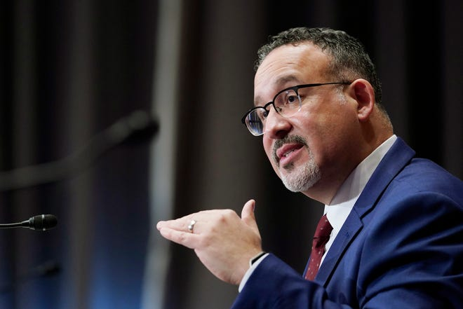Education Secretary Miguel Cardona, who was sworn in on March 2, 2021, shown on Feb. 3, 2021, in Washington, D.C.