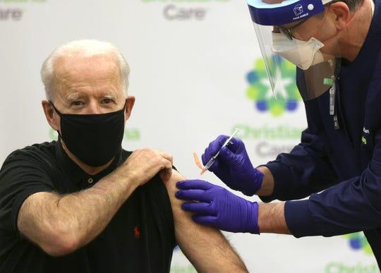 President-elect Joe Biden receives his second Pfizer vaccination on Jan. 11, 2021, in Wilmington, Del.