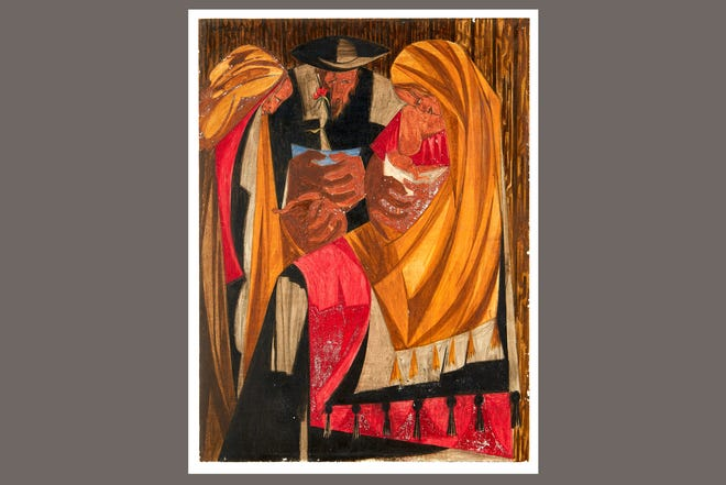 """A 1956 painting, """"Immigrants admitted from all countries: 1820 to 1840—115,773,"""" by Black American artist Jacob Lawrence. The painting, a  panel from a 30-panel series, was recently located after it was missing for more than 60 years, announced the Peabody Essex Museum of Salem, Mass., on March 2, 2021."""