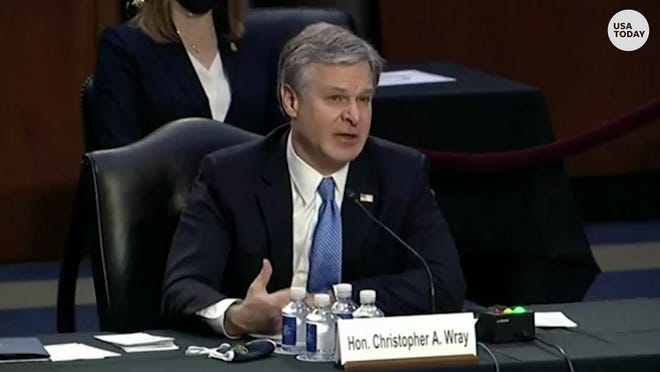 FBI Director Chris Wray warned of the threat of racially motivated violent extremism while testifying before the Senate.