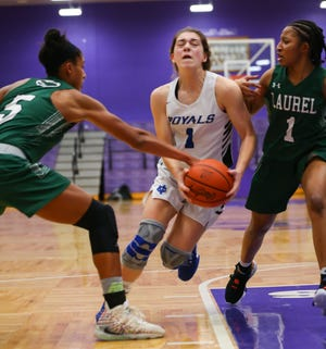 CVCA guard Gia Casalinova scored 24 points but it wasn't enough for the Royals, who lost 60-40 to to Laurel in a Division II regional semifinal at Barberton. [Photo courtesy of Timothy Howard]