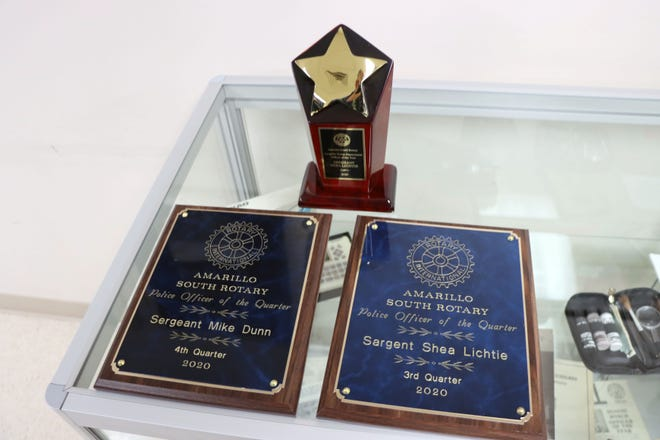 Sgt. Mike Dunn was presented with the 2020 fourth quarter Amarillo Police Department Officer Recognition Award and Sgt. Shea Lichtie received the 2020 third quarter APD Officer Recognition and 2020 APD Officer of the Year Award during the 30th annual presentation Wednesday at the Amarillo Police Department.