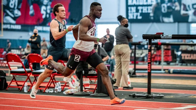 West Texas A&M's Desmond Aryee, pictured, is among 15 student-athletes to qualify for the 2021 NCAA Division II Indoor Track & Field Championships in Birmingham on March 11-14. Aryee qualified in the 60-meters.