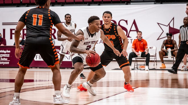Qua Grant (2) scored 40 points to help lead West Texas A&M to the NCAA Division II South Central Regional title. The Buffaloes are the No. 1 seed for the Elite Eight, which starts Wednesday in Evansville, Indiana, and also features Flagler College.