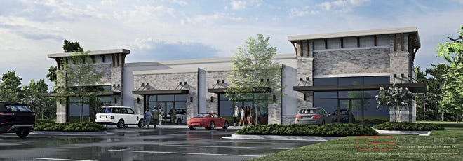 This architect's rendering is intended to represent what a strip of shops might look like at the intersection of Fury Ferry Road and Park Lane in Columbia County.