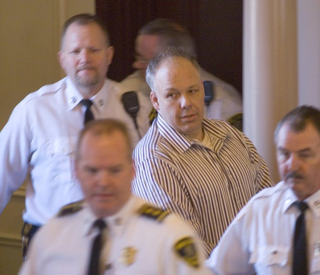 Daniel Prunty is led into Barnstable Superior Court in 2006 to hear the verdict that he had been found guilty of first-degree murder in the killing of Jason Wells. Prunty's latest legal appeal was denied Friday.