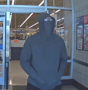 Columbus police released this photo from store surveillance of the suspect in the robbery Tuesday morning, March 2, 2021, of the Meijer store at East Broad Street and North Waggoner Road on the Far East Side.