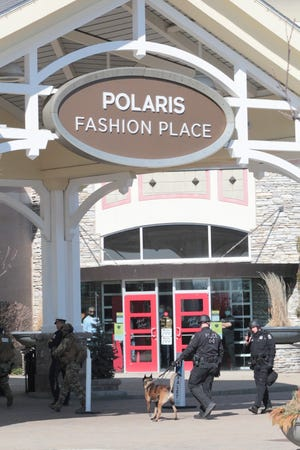 Polaris Fashion Place was evacuated after there were reports of shots fired on Wednesday.
