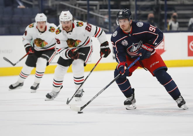 Columbus native Jack Roslovic (96) has shown some flashes of solid play at center for the Blue Jackets since arriving via trade with Winnipeg in January.