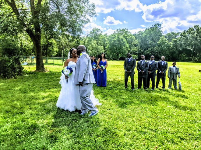 A wedding party at Phenix Banquet Center's outdoor space