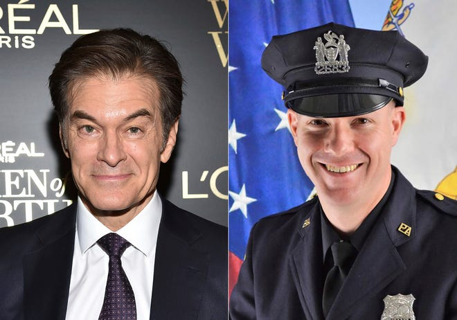 This combination photo shows TV personality Dr. Mehmet Oz at the 14th annual L'Oreal Paris Women of Worth Gala in New York on Dec. 4, 2019, left, and Port Authority Officer Jeffrey Croissant. Oz and Croissant came to the aid of a traveler and performed CPR at Newark Liberty International Airport, Monday night, March 1, 2021. [AP Photo, left, and Port Authority of New York & New Jersey via AP]