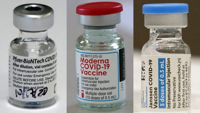 From left: The Pfizer-BioNTech vaccine, the Moderna vaccine and the Johnson & Johnson Jannsen vaccine.