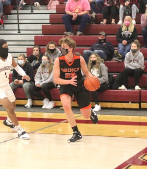 Quincy's Kyle Rodesiler, shown here in the Orioles game versus Union City, had perhaps his best career game, pacing the Orioles to a win over Reading with 19 points.