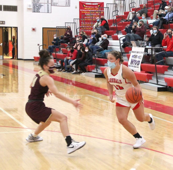 Coldwater senior Mia Rzepka, shown here in early season action versus Parma Western, led the Lady Cardinals in scoring in their tough loss to Lumen Christi Tuesday night