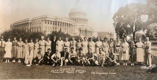 For many, many years until the mid-1970's, the senior classes of Hawley High School and then Wallenpaupack Area High School participated in a trip to Washington DC. This class trip picture from 1937 was recently donated to Hawley Public Library, where it will be displayed. Does anyone recognize any of these names?