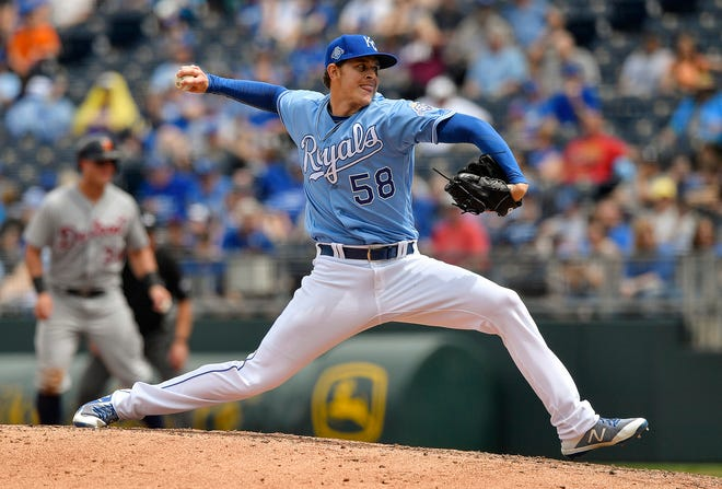 Kansas City Royals relief pitcher Scott Barlow throws in the fifth inning during a game against the Detroit Tigers on May 3, 2018, at Kauffman Stadium in Kansas City, Mo.