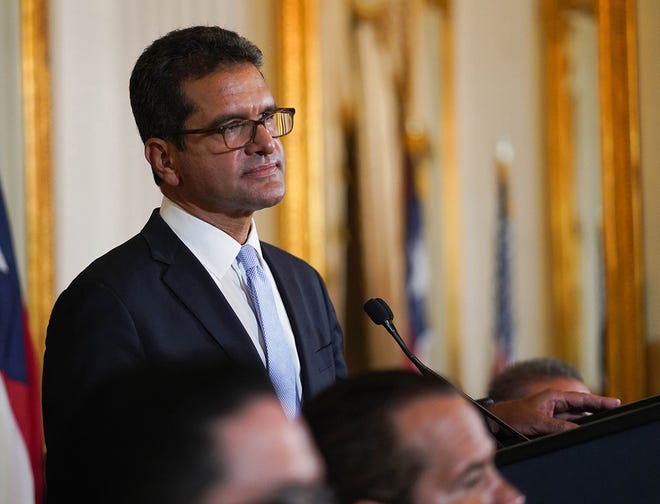 Puerto Rico interim governor Pedro Pierluisi answers questions during a press conference on his first day in the government's mansion on Aug. 2, 2019 in San Juan, Puerto Rico.