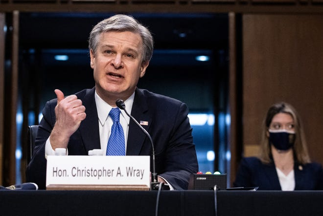 FBI Director Christopher Wray testifies on Capitol Hill in Washington, D.C., before a Senate Judiciary Committee on the Jan. 6 Insurrection, domestic terrorism and other threats, on Tuesday, March 2, 2021.