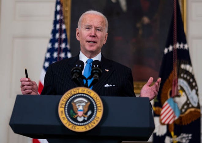 President Joe Biden speaks in the State Dining Room of the White House on March 2, 2021, in Washington, D.C. Biden spoke about the recently announced partnership between Johnson & Johnson and Merck to produce more J&J COVID-19 vaccine.