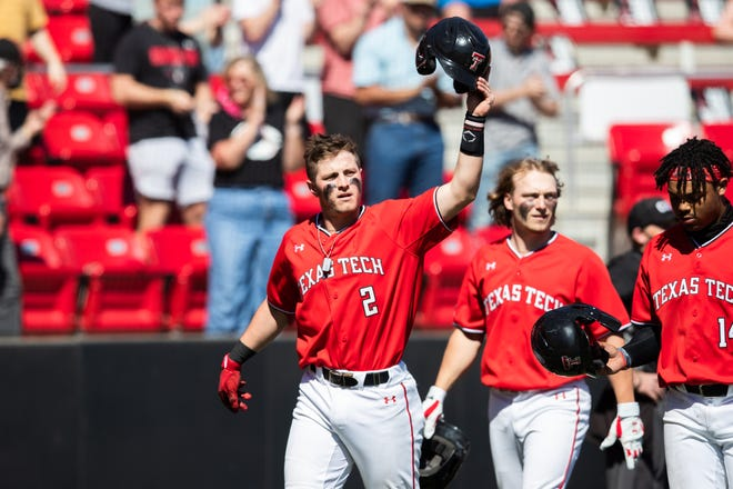 Texas Tech infielder Jace Jung acknowledges the crowd after a home run during a game March 3 against Texas Southern at Dan Law Field at Rip Griffin Park.