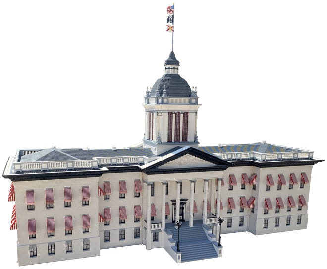 Master model builders at Legoland Florida Resort used more than 370,000 Lego bricks to create a replica of the Florida State Capitol.