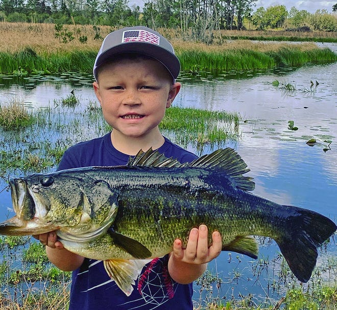 Braxton Collins, 5, of Bartow caught this 7-pound largemouth bass on a junebug color Zoom ribbontail worm while fishing a phosphate pit near Bartow recently.