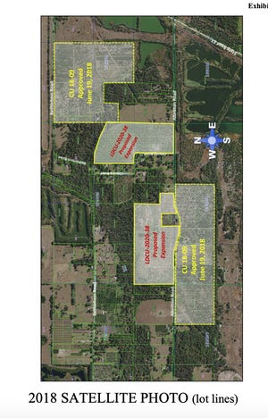 A satellite photo depicting the approved expansion of the Alafia solar project in Mulberry.