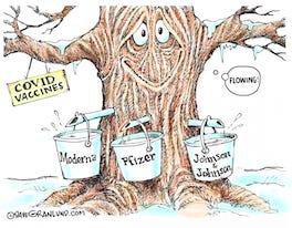 GRANLUND CARTOON: Vaccines flowing – Dave Granlund cartoon on the COVID-19 vaccines. By Dave Granlund.