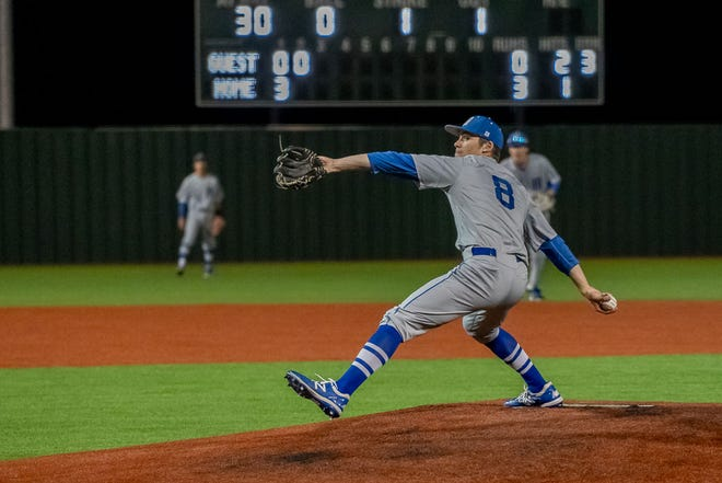 Midlothian's Nathan Humphreys pitches during a game in Waxahachie last March. The Panthers will face the Indians twice in this weekend's Robert Dulin Memorial Tournament at Richards Park.