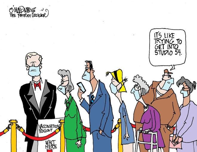 Joe O'Mahoney cartoon on vaccine rollout