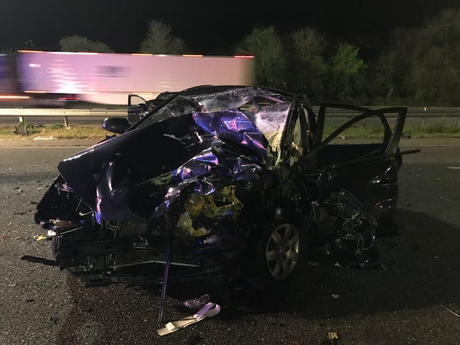 This car was involved in a three-vehicle crash Tuesday night on Interstate 75 just north of Ocala. A pedestrian was killed. The driver of this car was hospitalized and listed in serious condition.