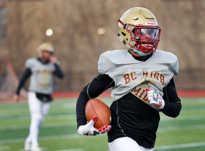Junior Ben Evee, of Randolph, shown here during preseason practice, picked off a pass in the end zone in the final minute to clinch BC High's 14-7 win over St. John's Prep on Friday, April 23, 2021.