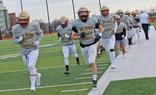 BC High football players prepare for the Fall 2 season at practice on Wednesday, March 3, 2021.