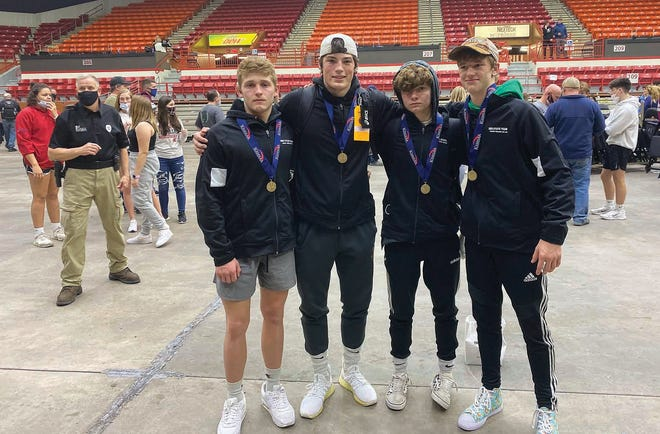 Devon Weber, Bryce Winsor, Dalton Weber and Kaiser Pelland medaled for Pratt at the KSHSAA 2021 State Wrestling Tournament on Saturday in Salina.