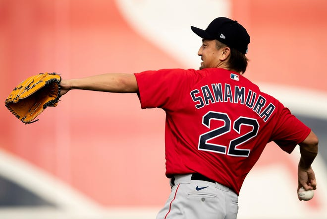 FT. MYERS, FL - MARCH 3: Hirokazu Sawamura #22 of the Boston Red Sox throws during a spring training team workout on March 3, 2021 at jetBlue Park at Fenway South in Fort Myers, Florida. (Photo by Billie Weiss/Boston Red Sox/Getty Images) *** Local Caption *** Hirokazu Sawamura