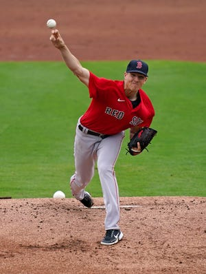 Mar 3, 2021; Fort Myers, Florida, USA; Boston Red Sox relief pitcher Nick Pivetta (37) delivers a pitch in the 1st inning of the spring training game against the Minnesota Twins at CenturyLink Sports Complex. Mandatory Credit: Jasen Vinlove-USA TODAY Sports