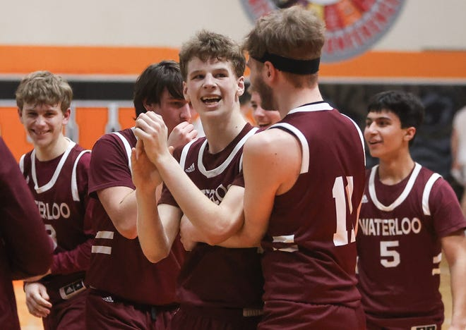 The Waterloo Vikings celebrated their 54-51 victory over Newton Falls in Tuesday's district semifinal.