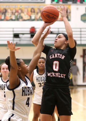 McKinley's Nakyah Terrell (0) takes a shot during the Bulldogs' Division I regional semifinal game against Hoban.