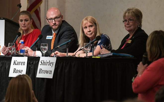 Sarasota County School Board member Karen Rose, shown here during a candidate forum in June 2018 (third from left), said that reinforcing the need for mental health resources will remain a top priority for the board.