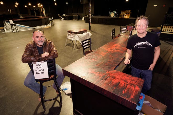 Dave Brown, left, and Mike Grimes, co-owners of The Basement East, pose inside the rebuilt music venue Feb. 25 in Nashville, Tennessee. The building was destroyed by a tornado March 3, 2020.