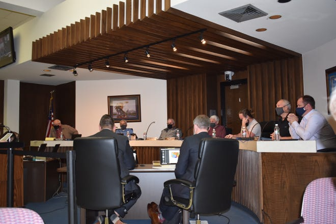 Shawnee City Commissioners during their meeting Monday.