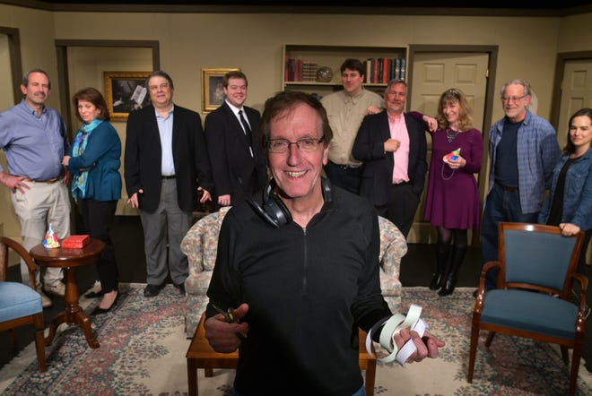 """Dave Ludt, pictured with the cast of Calliope Theater's 2019 production of """"Absolutely Dead,"""" has joined other groups in asking what theater-goers need to feel safe returning to live performances."""
