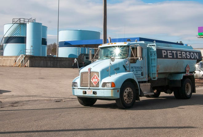 A Peterson Oil Service truck leaves the company's Crescent Street facility in Worcester last month.